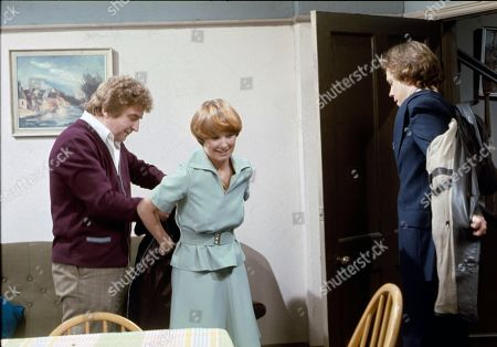Stock Picture of Peter Adamson (as Len Fairclough), Diane Grayson (as Liz Brocklebank) and Jonathan Coy (as Stanley Fairclough)