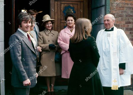 The christening of Tracy Langton. Neville Buswell (as Ray Langton), Maggie Jones (as Blanche Hunt), William Roache (as Ken Barlow), Eileen Derbyshire (as Emily Bishop), Betty Driver (as Betty Turpin), Anne Kirkbride (as Deirdre Langton) and Richard Caldicot (as Rev. Smedley)