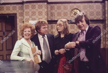 Barbara Knox (as Rita Fairclough), Peter Adamson (as Len Fairclough), Anne Kirkbride (as Deirdre Langton) and Neville Buswell (as Ray Langton)