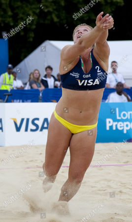 Lucy Boulton (GBR) during the FIVB International Beach Volleyball tournament, part of the London prepares (LOCOG) 2012 Olympic test events held at Horse Guards Parade, Westminster, London.