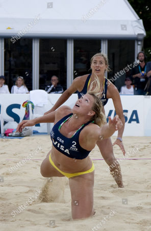 Lucy Boulton & Denise Johns (GBR) during the FIVB International Beach Volleyball tournament, part of the London prepares (LOCOG) 2012 Olympic test events held at Horse Guards Parade, Westminster, London.