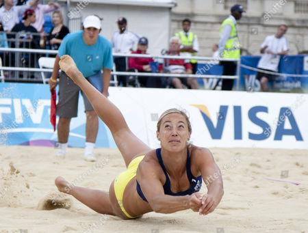 Denise Johns (GBR) in action during the FIVB International Beach Volleyball tournament, part of the London prepares (LOCOG) 2012 Olympic test events held at Horse Guards Parade, Westminster, London.
