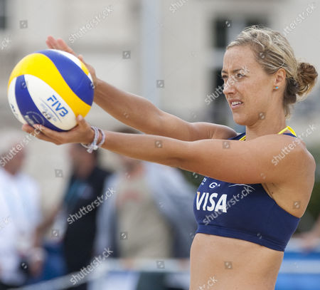 Denise Johns (GBR) during the FIVB International Beach Volleyball tournament, part of the London prepares (LOCOG) 2012 Olympic test events held at Horse Guards Parade, Westminster, London.