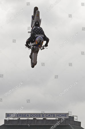 Robbie Maddison (AUS) in action during a training session for the London stage of The Red Bull X-Fighters freestyle Motorcycle Cross Tournament held at Battersea Power Station, Battersea, London, England: