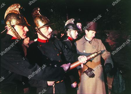 'Adventures of Sherlock Holmes' - 1984   Inspector Lestrade [Colin Jeavons] with members of the fire brigade.