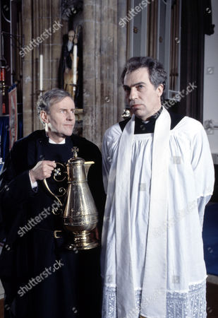 Stock Image of Richard Briers (left) and Andrew Burt  in 'Tales Of The Unexpected' - 1988  Episode: 'The Verger'