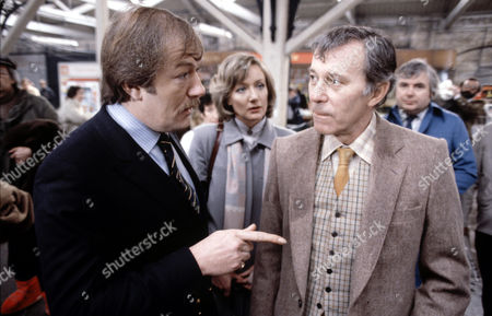 Michael Gambon (left) with John Carson and Jennifer Hilary in 'Tales Of The Unexpected' - 1980  Episode: 'The Umbrella Man'