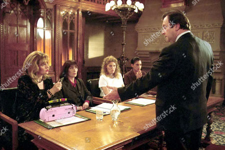 'Band of Gold' - 1996  Anita [Barbara Dickson], Joyce [Rachel Davies], Rose [Geraldine James] and Carol [Cathy Tyson] threaten George Ferguson [Tony Doyle] with a tape of the conversation that they just had if he comes anywhere near their company again