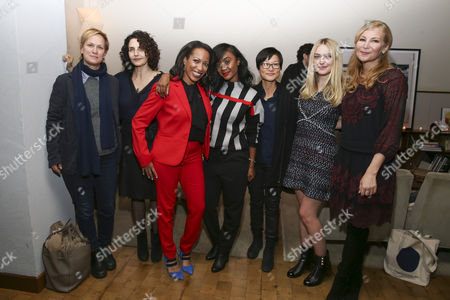 Stock Picture of Anne Carey, Tamera Jenkins, Leah Natasha Thomas, A.V. Rockwell, So Yong Kim, Dakota Fanning, and Jennifer Westfeldt