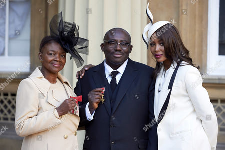 Valerie Amos after receiving her Member of the Order of the Companions of Honour, Edward Enninful after receiving his Officer of the Order of the British Empire (OBE) and Naomi Campbell