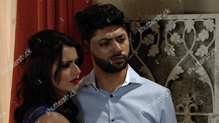As Sharif Nazir, as played by Marc Anwar, presents Rana Habib, as played by Bhavna Limbachia, with Jamila's necklace and Zeedan Nazir, as played by Qasim Akhtar, makes a heartfelt speech, Yasmeen Nazir, as played by Shelley King, is no longer able to contain her anger and announces that Sharif has been having an affair for years. The guests reel in shock. (Ep 9027 - Friday 4th November 2016)