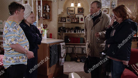 Roy Cropper, as played by David Neilson, and Cathy Matthews, as played by Melanie Hill, return home just as Gemma, as played by Dolly-Rose Campbell, emerges from the shower but Alex, as played by Liam Bairstow, covers. A love struck Alex tells Roy and Cathy he'd like to invite Gemma to their wedding along with Nessa. (Ep 9028 - Friday 4th November 2016)
