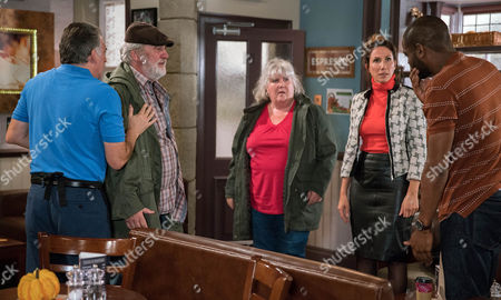 Zak Dingle, as played by Steve Halliwell spots Bailey, as played by Micah Balfour, speaking to Megan Macey, as played by Gaynor Faye, and whacks him but he soon regrets it when Megan explains Bailey was helping her. Lisa Dingle, as played by Jane Cox, has a go at Zak for fighting (Ep 7656- Tuesday 1st November 2016)