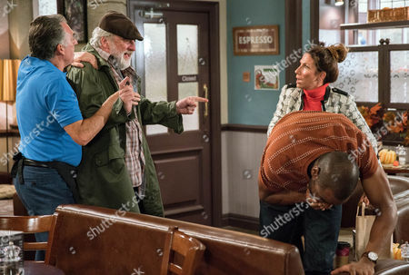Stock Image of Zak Dingle, as played by Steve Halliwell spots Bailey, as played by Micah Balfour, speaking to Megan Macey, as played by Gaynor Faye, and whacks him but he soon regrets it when Megan explains Bailey was helping her. Lisa Dingle, as played by Jane Cox, has a go at Zak for fighting (Ep 7656- Tuesday 1st November 2016)