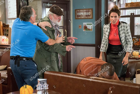 Stock Photo of Zak Dingle, as played by Steve Halliwell spots Bailey, as played by Micah Balfour, speaking to Megan Macey, as played by Gaynor Faye, and whacks him but he soon regrets it when Megan explains Bailey was helping her. Lisa Dingle, as played by Jane Cox, has a go at Zak for fighting (Ep 7656- Tuesday 1st November 2016)