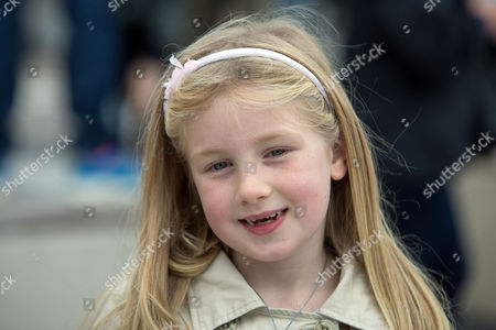 Florence Fearn-Hughes, seven, from Haywoods Heath, who spoke and presented flowers to Prince Philip during his visit to the British Airways i360 attraction in Brighton, East Sussex where he took a ride on the world's first vertical cable car