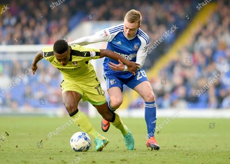 Freddie Sears of Ipswich Town and Darnell Fisher of Rotherham United - Ipswich Town v Rotherham United, Sky Bet Championship, Portman Road, Ipswich - 29th October 2016.