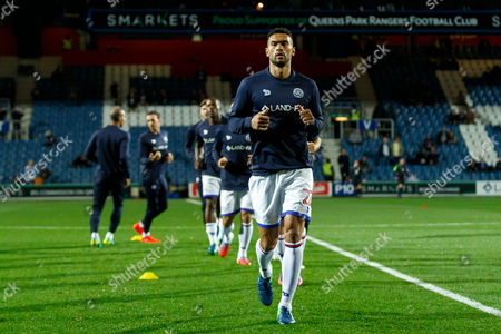 Steven Caulker of QPR warming up before the Sky Bet Championship match between QPR and Brentford played at Loftus Road Stadium, London on 28th October 2016