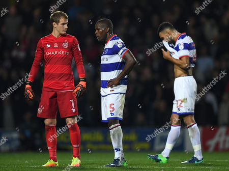 QPR dejected players Goalkeeper Alex Smithies, Nedum Onuoha and Steven Caulker during the Sky Bet Championship match between Queens Park Rangers and Brentford played at Loftus Road, London on 28th October 2016