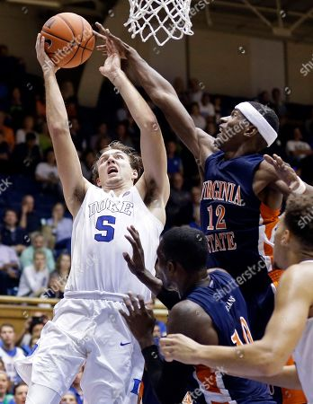 Luke Kennard, Walter Williams Duke's Luke Kennard (5) drives to the basket as Virginia State's Walter Williams (12) defends during the second half of an exhibition college basketball game in Durham, N.C
