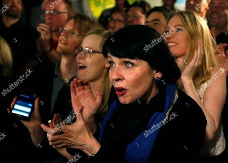 Stock Photo of Birgitta Jonsdottir of the Pirate party (Pirater) reacts after the first results in Reykjavik, Iceland, . Parliamentary elections were held in Iceland on Saturday, with more than 250,000 voters entitled to elect 63 members of the Althing parliament