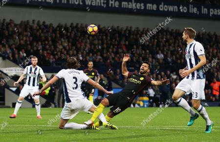 Sergio Aguero of Manchester City is tackled by Jonas Olsson of West Bromwich Albion during the Premier League match between West Bromwich Albion and Manchester City played at the Hawthorns, West Bromwich on 29th October 2016
