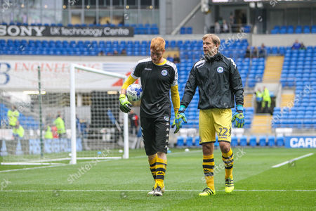 Wigan Athletic goalkeepers Jussi Jaaskelainen and Adam Bogdan before the EFL Sky Bet Championship match between Cardiff City and Wigan Athletic at the Cardiff City Stadium, Cardiff
