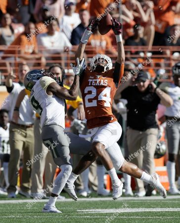 John Bonney, KD Cannon Texas cornerback John Bonney (24) breaks up a pass intended for Baylor wide receiver KD Cannon (9) during the first half on a NCAA college football game, in Austin, Texas