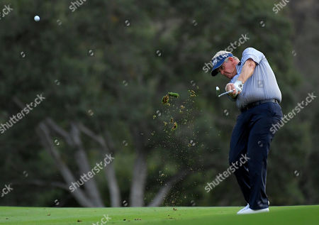 Colin Montgomerie Colin Montgomerie, of Scotland, hits a fairway shot on the 18th hole during the second round of the PowerShares QQQ Championship golf tournament, at Sherwood Country Club in Thousand Oaks, Calif