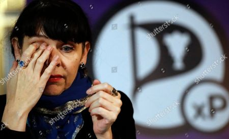 Stock Photo of Birgitta Jonsdottir of the Pirater (Pirate) Party addresses the media during a conference in Reykjavik, Iceland, . No party emerged Sunday with a clear mandate to form a government from Saturday's election, with the Pirate Party placed third, behind the Independence Party and the Left-Green movement