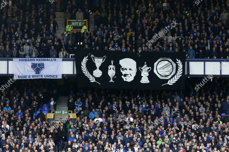 Tributes to former player and manager Howard Kendall hangs from the stands during the Premier League match between Everton and West Ham United played at Goodison Park,  Liverpool on 30th October 2016
