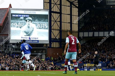A tribute to former player and manager Howard Kendall shows on the giant TV screens during the Premier League match between Everton and West Ham United played at Goodison Park,  Liverpool on 30th October 2016