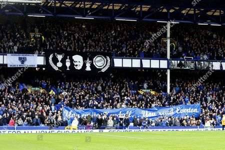 Everton supporters hold up banners in memory of former manager Howard Kendall as the anniversary of his death approaches ahead of the Premier League match between Everton and West Ham United played at Goodison Park,  Liverpool on 30th October 2016