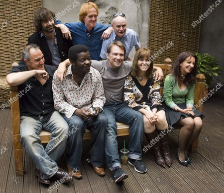 Back row (l-r) Phil Nichol, Owen O'Neill, Dave Johns Front row (l-r) Gavin Robertson, Steven Amos, Christian Slater, Lizzie Roper and Lucy Porter