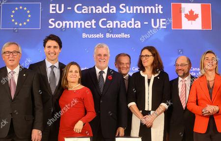 Jean-Claude Juncker, Justin Trudeau, Chrystia Freeland, Justin Trudeau, Donald Tusk, Cecilia Malmstrom, Martin Schulz, Federica Mogherini