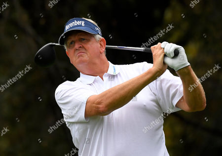 Colin Montgomerie Colin Montgomerie, of Scotland, tees off on the second hole during the final round of the PowerShares QQQ Championship golf tournament, at Sherwood Country Club in Thousand Oaks, Calif