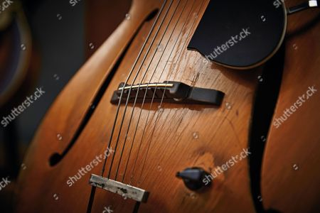Bath United Kingdom - February 19: Detail Of A Vintage 1950s Framus Electric Guitar Belonging To English Blues Rock Guitarist Chris Corcoran Photographed In Bath On February 19