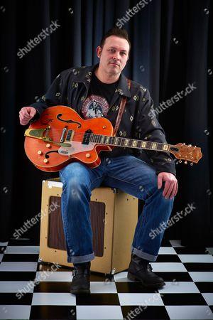 Stock Image of Bath United Kingdom - March 7: Portrait Of English Rockabilly Guitarist Darrel Higham Photographed In Bath On March 7