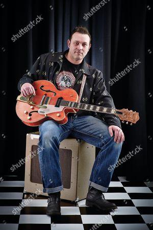 Bath United Kingdom - March 7: Portrait Of English Rockabilly Guitarist Darrel Higham Photographed In Bath On March 7