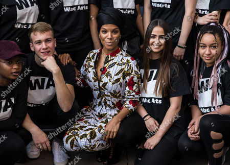 Niomi McLean-Daley, AKA Ms Dynamite, with students from Wac Arts