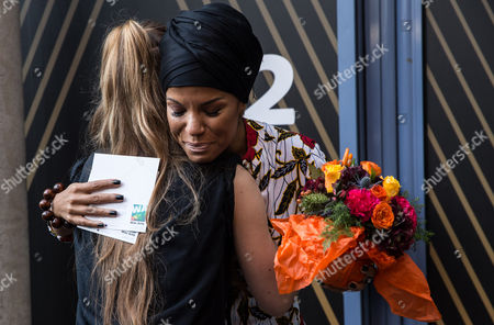 Niomi McLean-Daley, AKA Ms Dynamite reacts as her 'Paving the Way' paving stone is unveiled