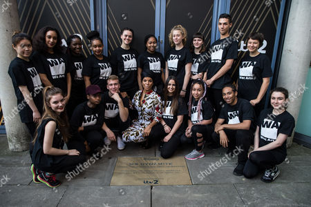 Niomi McLean-Daley, AKA Ms Dynamite with students from Wac Arts and her 'Paving the Way' paving stone