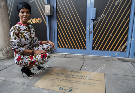 Niomi McLean-Daley, AKA Ms Dynamite with her 'Paving the Way' paving stone