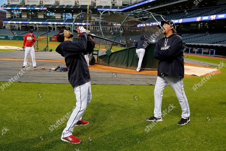 Coco Crisp Cleveland Indians' Coco Crisp, center, jokes around during an optional team workout at Progressive Field in preparation for baseball's upcoming World Series Game 6 against the Chicago Cubs Tuesday night in Cleveland