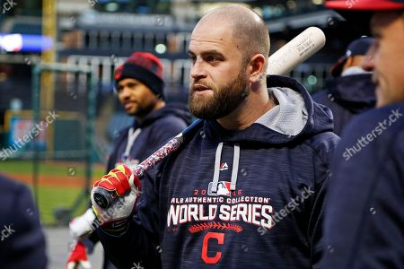 Coco Crisp, Mike Napoli Cleveland Indians' Mike Napoli, center, and Coco Crisp, left rear, participate in an optional team workout at Progressive Field, in preparation for baseball's upcoming World Series Game 6 against the Chicago Cubs Tuesday night in Cleveland