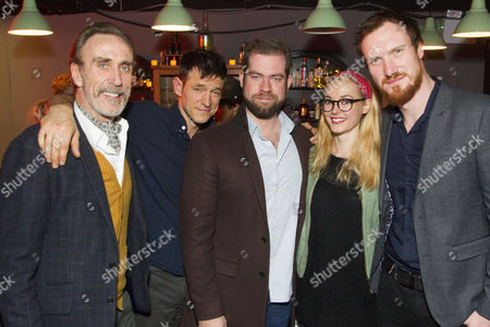 Stock Picture of Joe McGann (Old Man), Adam Rothenberg (Eddie), Simon Evans (Director), Lydia Wilson (May) and Luke Neal (Martin)