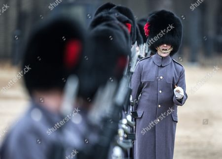 Officers of the Coldstream guards make sure their soldiers are correctly in place march as they await the arrival of The President of Colombia Juan Manuel Santos Calderon and his wife Maria Clemencia Rodriguez de Santos