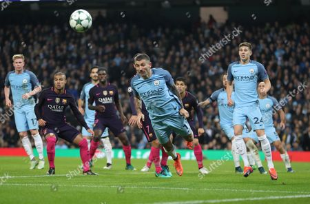 Manchester Cit's Aleksander Kolarov clears     during  the UEFA Champions League Group C match between Manchester City and Barcelona, played at the Etihad Stadium, Manchester on 1st November 2016