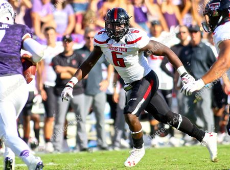 Texas Tech rush back Kris Williams (6) contains outside play during NCAA football game action between Texas Tech Red Raiders and TCU Horned Frogs at Amon G. Carter Stadium in Fort Worth Texas. Texas Tech defeated TCU 27-24