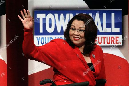 Tammy Duckworth Democratic U.S. Rep. Tammy Duckworth waves to supporters before facing off with Republican U.S. Sen. Mark Kirk in their first televised debate in what's considered a crucial race that could determine which party controls the Senate, in Springfield, Ill